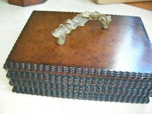 Jonathan Charles Burl Walnut Gadrooned Box Antique Brass Gecko & Frog Accents