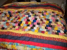 """Colorful Handmade Sewn Quilt Throw Craft Fabric Patchwork 66"""" x 88"""""""