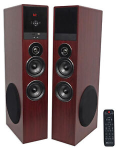 """Rockville TM80C Cherry Powered Home Theater Tower Speakers 8"""" Sub/Bluetooth/USB"""