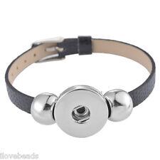 1PC Fashion Black DIY Watch Band Wristband Fit Mini Snap Button Jewelry 22cm
