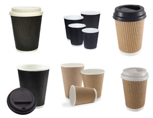 Disposable Tea Coffee Paper triple walled Cups Kraft Cups For Hot And Cold Drink