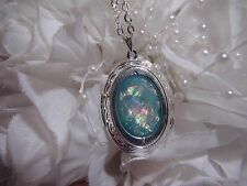 PROM MOM DAUGHTER blue opal DRAGONS wedding FIRE LOCKET Necklace Pendant AQUA