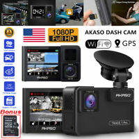 AKASO Trace 1 Pro GPS Dual Lens Dash Cam HD 1080P Car DVR Camera Video Recorder