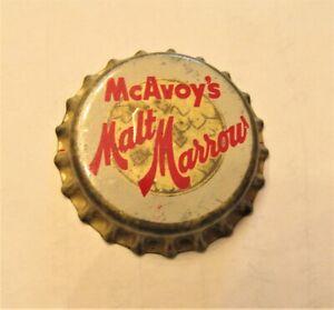 McAVOY'S MALT MARROW beer 1940's unused cork crown cap CHICAGO OR WISCONSIN