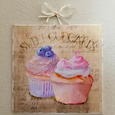 *NEW ITEM* Shabby Paris French Sweet Cupcakes Plaque Sign Wall Decor Distressed