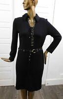 St John Collection Black Santana Knit Laced Grommet Belted Long Sleeve Dress 8