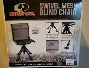 Mossy Oak Swivel Mesh Blind Hunting Chair Black 300 lbs capacity Adjustable