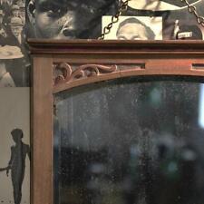 Large Antique Solid Oak Framed Bevelled Wall Mirror.