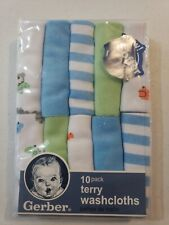 Gerber Baby Boys 10 Pack Terry Washcloths New Adorable Bears, Stripes, Solids