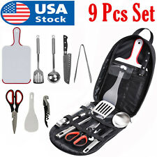 9 Pcs Camping Utensils Set Outdoor Cooking Bbq Cookware Portable Travel Tools