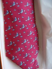 HERMES silk tie whimsical collection, Eskimo fishing !!!,  NEW with box