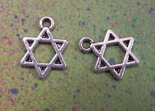 "50 Charms Hebrew Faith Judaica Gift Charm Jewish Star of David 1/2"" Stars Favor"