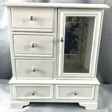 Vintage Jewelry Box Chest Wood White Armoire Storage Organizer Glass Door Drawer