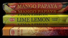 Mango Papaya Lime Lemon Saffron 60 Hem Incense Sticks 3 Scent Sampler Gift Set
