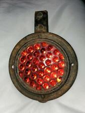 """Vintage 5"""" Railroad Train Red Glass Marble Jewel Reflector Badge with Bracket"""