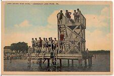 'Lady Doing High Dive' at Conneaut Lake Park PA Postcard