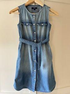 Gap Button Through Denim Dress Size L Age 10-11 Years
