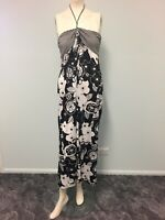 Hot option black white halter maxi dress size 12 women party casual holiday