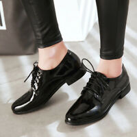 Women's Flats Heel Patent Leather Lace-up Square Toe Oxfords Brogue Casual Shoes