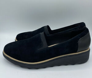 Clarks Womens Sharon Dolly Black Slip On Size 11 M Ultimate Comfort Collection