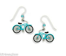 Sienna Sky Vintage Style AQUA BLUE BICYCLE EARRINGS Ladies Bike Sterling + Box