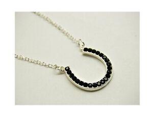 Indianapolis Colts Black Horseshoe Crystal Fashion Pendant Necklace