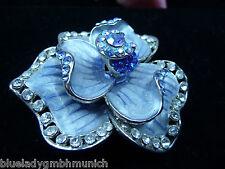 Brosche ✿ Fleur Bleu ✿ Emailliert STRASS Anstecknadel NADEL Kristalle Pin