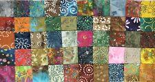 100 Assorted Batiks 5� Pre cut square Charm Pack 100% Cotton Fabric