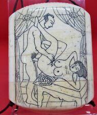Japanese Bone Inro Meiji Period Erotic