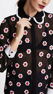 Alice + Olivia Willa Floral Embellished Scalloped Collar Top Blouse Size L NWOT