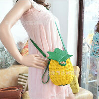 Yellow Straw Handbag Fruit Bag Pineapple Pure Handmade Woven Women Messenger Bag