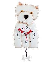 New MICHELLE ALLEN Designs WALL CLOCK Decor WESTIE Swinging Pendulum WHITE DOG