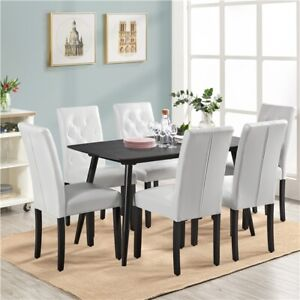 Modern 2pcs White Dining Chairs Kitchen Chairs with High Back for Home Furniture