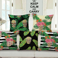 "Cotton Linen 18"" Home Car Bed Sofa Cushion Throw Pillow Case Square Skull Cover"