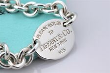 """Please Return To Tiffany & Co. Silver Oval Tag Charm 7.5"""" Bracelet w/Packaging"""