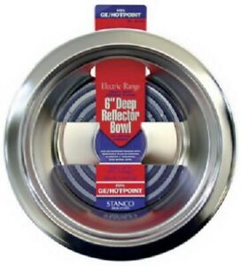 "Stanco 2 Pack, 6"" Chrome Deep Reflctor Bowl, Fits Most GE Ranges With Deep Inset"