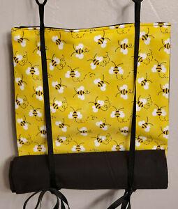 Classroom Door Curtain Bumble Bees Yellow Roll Up Tie Up Handmade School Drill