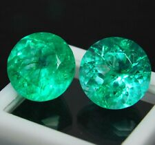 Natural Certified 8 to 10 Cts Pair Round Colombian Green Emerald Loose Gemstone
