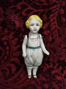 Antique/Vintage Unmarked Miniature All Bisque Girl Doll Strung Arms Molded Hair