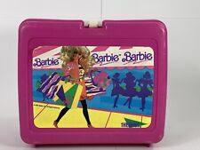Vintage 1990 Mattel Plastic Barbie Pink Lunch Box Used  Missing Thermos