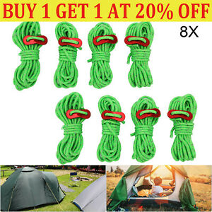 8Pcs 4M Fluorescent Green Tent Guide Rope Tent Camping Reflecting Guy Rope