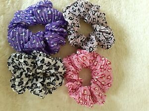 Large 10cm Crinkle Sateen Scrunchies with Heart Design - Choice of 4 Colours