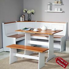 Corner Nook Dining Set Bench Breakfast Kitchen Booth Dinette Table White Storage