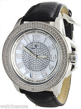 Super Techno 1-5364 12D Men's Silver Dial  Black Leather Band Watch
