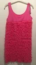 ONE SIZE OR 12 PINK FRILL DRESS IBIZA/CHELSEA/SUMMER/HOLIDAY/TOWIE/CELEB/PARTY