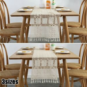 Jute Hessian Lace Table Runners Runner Sewed Edge Vintage Wedding Party Decor