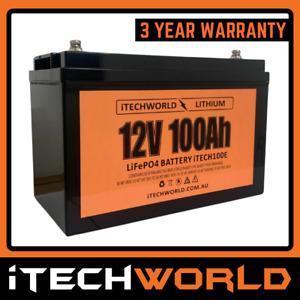 iTECHWORLD 12v 100Ah Lithium Battery LiFePO4 Deep Cycle Camping Caravan RV Solar