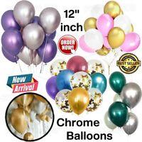 "10-100 PEARL LATEX METALLIC CHROME BALLOONS 12"" Helium Baloons Birthday Balons"
