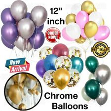 "10-100 PEARL LATEX METALLIC CHROME BALLOONS 12"" Helium Baloons Birthday Balons"