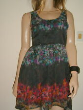 Ladies ANIMAL. Designer Dress /Tea Dress / Summer... Black & Floral Voile uk 6